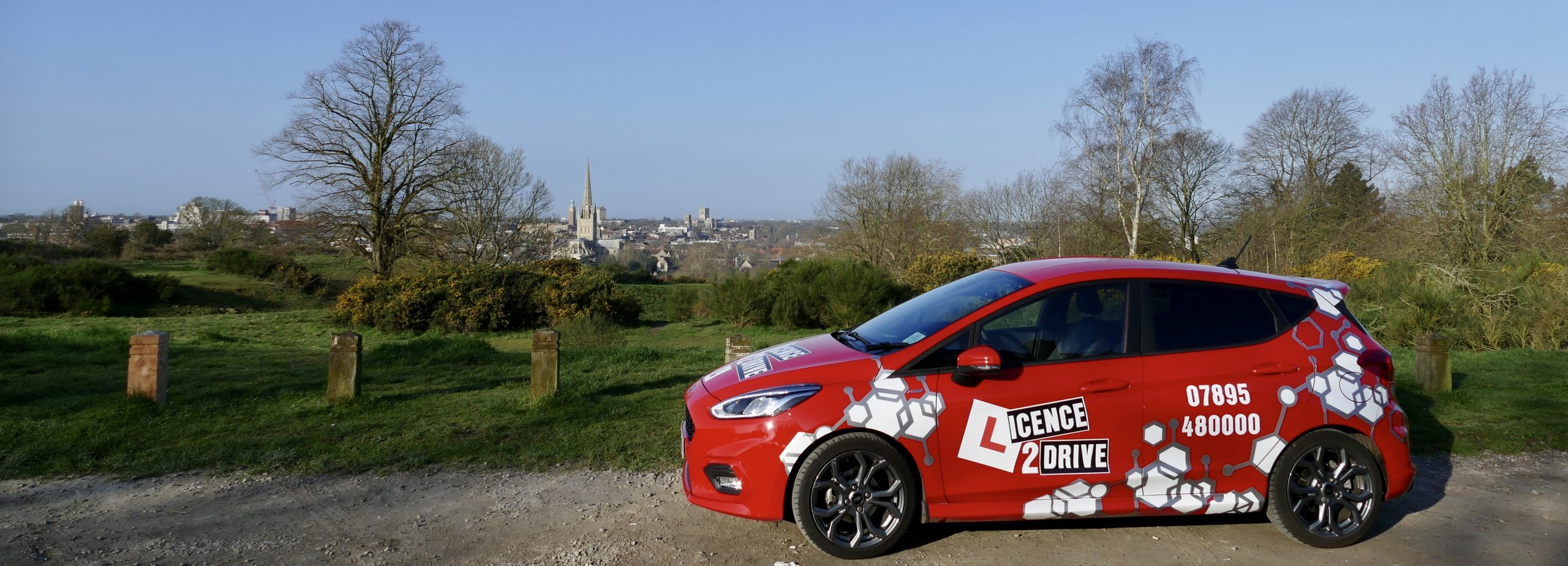 Licence2Drive Car and view over Norwich